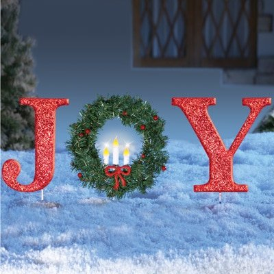 Glittered Red Christmas Stake Lighted Christmas Outdoor Yard