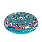 Eyes of India 24'' Teal Blue Green Round Decorative Floor Meditation Cushion Pillow Seating Throw Cover Indian Boho Bohemian