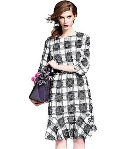 PU&PU Robe Aux femmes Gaine Street Chic,Damier Col Arrondi Au dessus du genou Polyester , gray-one-size , gray-one-size