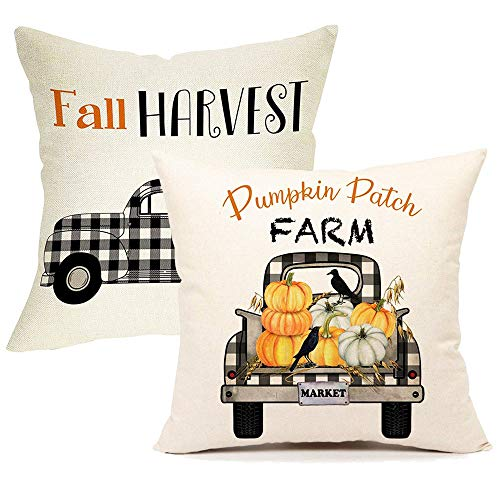 Songtec Fall Pillow Covers 18x18 Inches, Autumn Outdoor Pillows Farmhouse Decorative Patio Throw Pillow Cases Cushion with Plaid Vintage Truck Pumpkin - 2 Packs (Outdoor Cushions Fall)