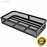 COLIBROX--Universal Front Atv Hd Steel Cargo Basket Rack Luggage Carrier Durable powder coated finish to withstand most demanding rides Lightweight design wont tax your ATV's power