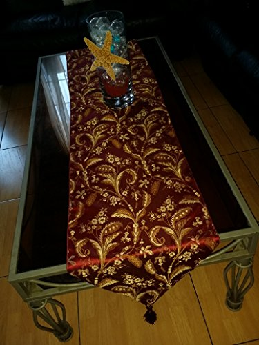 Luxury Damask Table (Luxury Damask, Table Runner, Made in Usa. 7 Colors Avalible. (Burgandy, 13