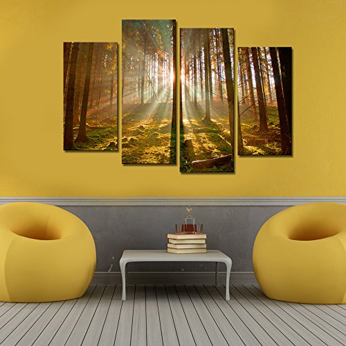 Large size 4 panels Framed Group Canvas Wall Art,Sunshine in Autumn ...