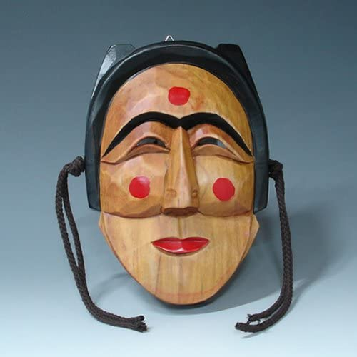 Hand Carved Korean Hahoe Woman Dance Smile Wooden Wall Decor Plaque Art Decorative Hanging Asian Mask