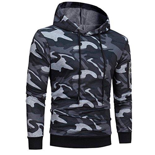 Winter Mens' Long Sleeve Sport Hoodie Windproof Hooded Motorcycle Sweatshirt Tops Jacket Coat Outwear (Gray, XXL)