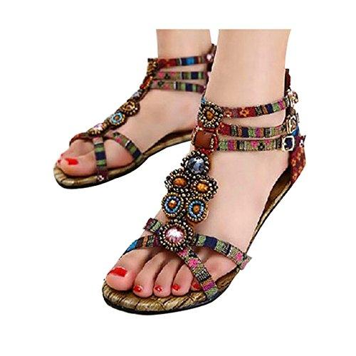 Summer Shoes Bohemian Sandals Women Flat Beading Casual Wine ZAMME Fashion vwXqx8