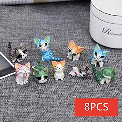 CheeseandU 8Pcs Cute Mini Cartoon Cat Figurine PVC Miniatures Lovely Cat Crafts Collectible Figurines Home Garden Office Car Boutique Decoration Kids Friends Birthday Cat Lover Ideal Gift 5Colors