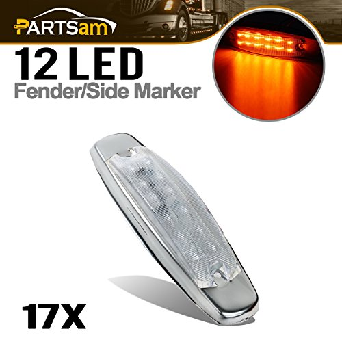 """Partsam 17x Rectangular Rectangle 6-1/5"""" Amber Led Marker Clearance Light Cab Top Roof Surface Mount Peterbilt-style Clear Lens 12 Diodes Air Cleaner Panel Lights"""