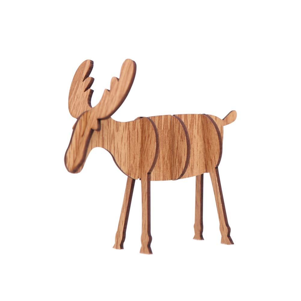Yinrunx DIY Wooden Christmas Elk Deer Decorations Xmas Tree Hanging Decorative Ornaments Pendant Gift