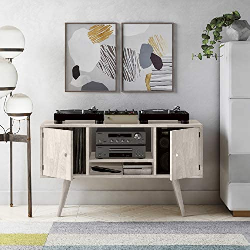 Domesis Mid Century Modern Wood Entertainment Cabinet with Doors in White Wash