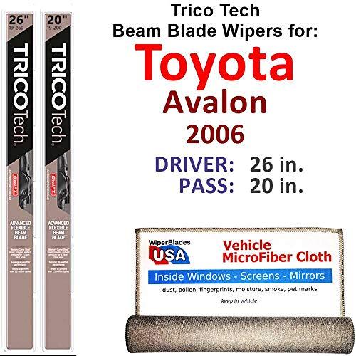 (Beam Wiper Blades for 2006 Toyota Avalon Driver & Passenger Trico Tech Beam Blades Wipers Set of 2 Bundled with Bonus MicroFiber Interior Car Cloth )