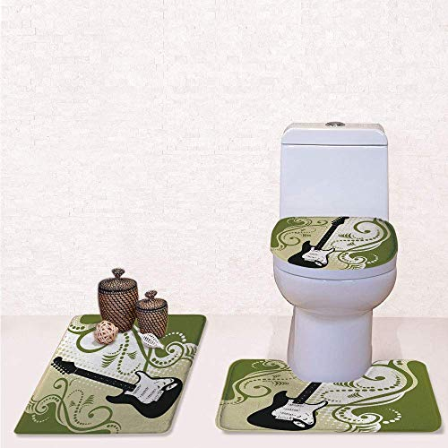 Print 3 Pcss Bathroom Rug Set Contour Mat Toilet Seat Cover,Electric Bass Guitar Figure with Swirls Background Artful Illustration with Olive Green White Black,decorate bathroom,entrance door,kitch