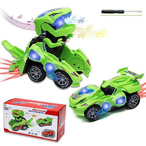 Motiloo Transforming Dinosaur Toys,LED Transforming Dinosaur Car,3D Automatic Transforming Dinosaur Car with Light Sound for Kids Christmas Toy Gifts(Green)