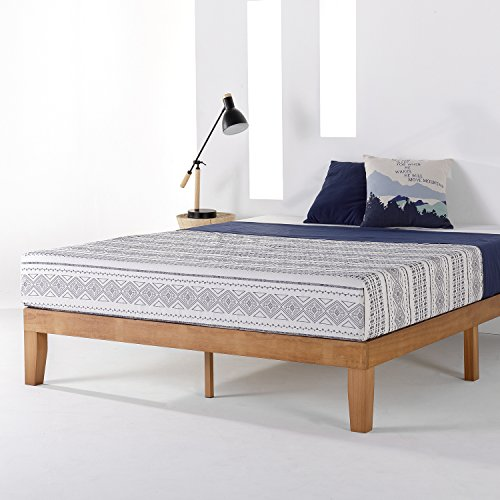 "Mellow 12"" Solid Wood Platform Bed Frame w/Classic Wooden Slat (No Box Spring Needed), King, Pine"