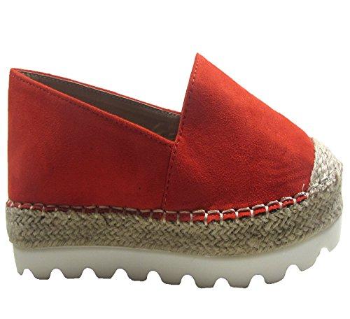 New Ladies plano de mujer Casual espedril Comfy para zapatos tamaño 3–8 Naranja - naranja