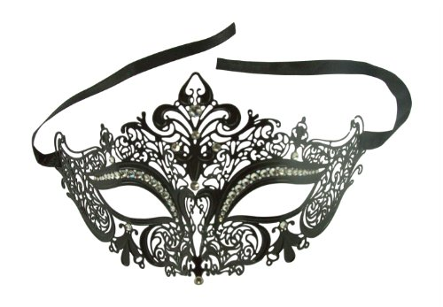 Enchanted Venetian Filigree Laser Cut Metal Masked Ball Crown Mask w/ Crystal Rhinestones (Black) (Venetian Eye Mask)