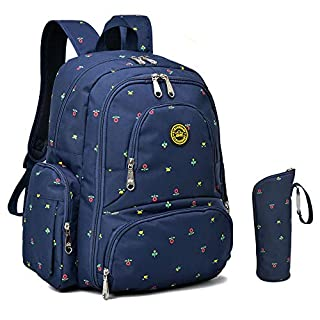 Qimiaobaby Multi-function Baby Diaper Bag Backpack with Changing Pad and Portable Insulated Pocket (Blue florets)
