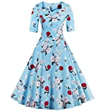 ZAFUL Women's 1950s Retro Vintage Floral Half Sleeve Party Swing Cocktail Dress (M, Light Blue)