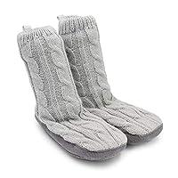 Goldbug Kids & Toddler Non-Slip Gripper Plush Slipper Socks - Unisex, Boys, Girls (6-12 Months, Grey)