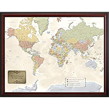 Personalized world travel map timekeeperwatches world push pin travel map with black frame updated sciox Choice Image