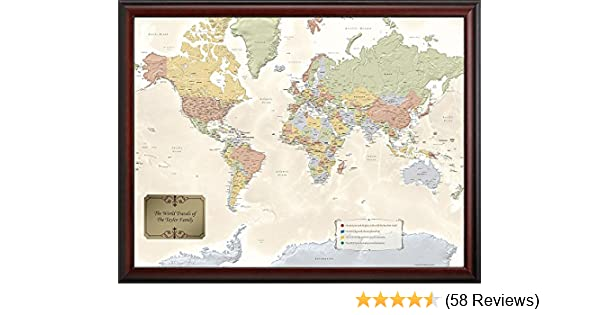 Amazon map your travels world traveler map wall art gumiabroncs Choice Image