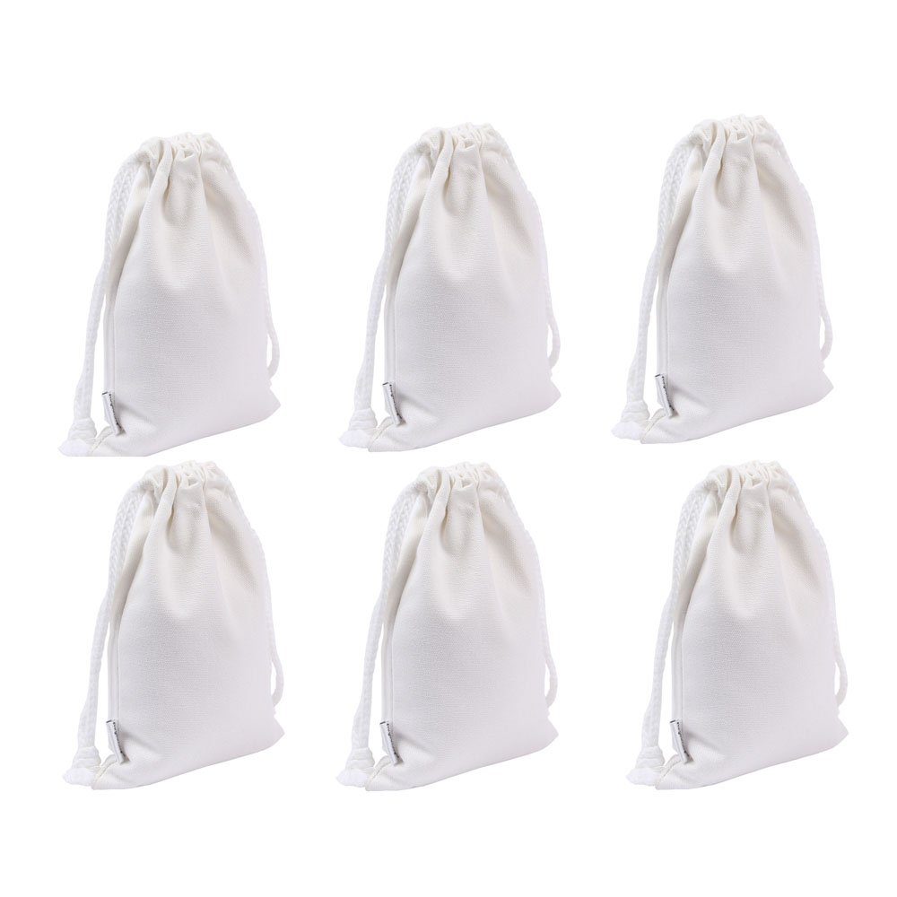 Augbunny 100% Cotton Canvas Favor Bag Pouch With Drawstring 6-pack Linluk