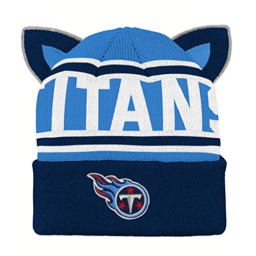 Outerstuff NFL Tennessee Titans Team Ears Fleece Knit Hat Dark Navy, Infant One - Clothes Baby Titans Tennessee