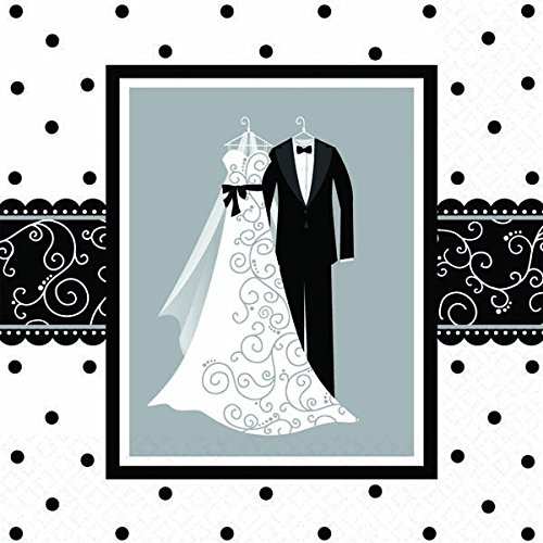 Amscan Classic Wedding Party Luncheon Napkins (16 Piece), 6.5 x 6.5