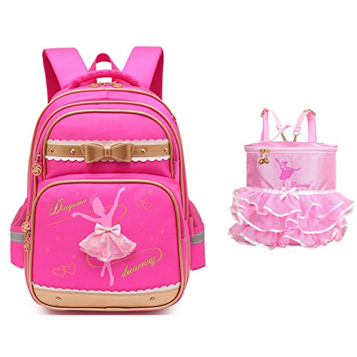 Price comparison product image Debbieicy Cute Ballet Dance Girl Waterproof Backpack Princess School Bag Kids School Bookbag for Girls (Rose2,  Large)
