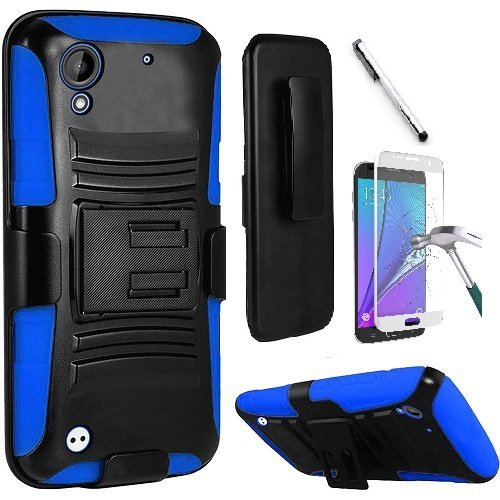 HTC Desire 530 Case, HTC Desire 630 Case, Luckiefind@ Hybrid Armor Stand Case with Holster and Locking Belt Clip, Stylus Pen & Tempered Glass Screen Protector Accessory (Holster Blue)