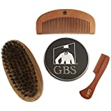 GBS 3 Piece Set Brush/Comb Combo Kit- Premium Wooden Oval Beard Brush with Synthetic Bristles, Tortoise All Fine Beard and Moustache Comb and Wooden Beard Comb