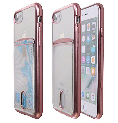iPhone 7 Plus Case, Case Art Plus Slim & Strong Clear Plating TPU Gel Shockproof Case Cover for iPhone 7 Plus with Card Holder (Rose Gold)