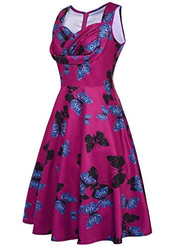 Femmes Robe Papillon Cou Impression Cru Violet Cocktail Manches Sans V Manches Floral Sans Partie impression rx0rFn1