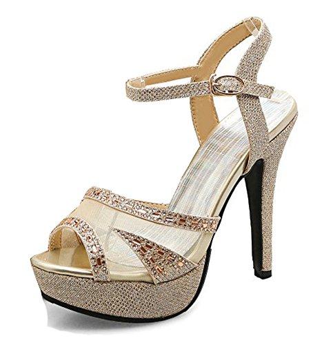 Aisun Kvinna Rhinestone Mesh Peep Toe Klänning Stilett Höga Klackar Buck Plattform Sandaler Med Ankelbandet Guld