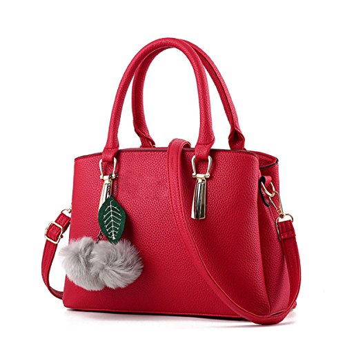 Womens Negro De Hombro Top Handle Pendant Fashion Elegant Red Handbags Pu Pompon Bolso Design 7qrfxv7w