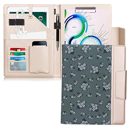 Toplive Portfolio Case Padfolio, Executive Business Document Organizer with Letter Size Clipboard, Card Holder, Tablet Sleeve(10.5), Perfect for Business School Office Conference,Floral - Business Executive Cards Green