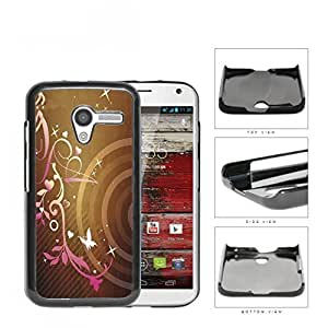 Pink Gradient Floral Pattern With Stars And Butterfly Hard Plastic Snap On Cell Phone Case Motorola Moto X