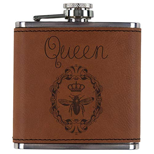 Old Glory Queen Bee Etched Leatherette Flask Rawhide Standard One Size