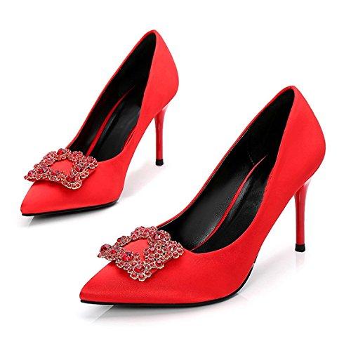 Festa amp; Nozze di Pompa della Nero di Donna Caduta Strass Base Rosso Rosso la Molla Scarpe Heel Stiletto per Seta DIMAOL della Sera da Tacchi Punta qnRH1wpU