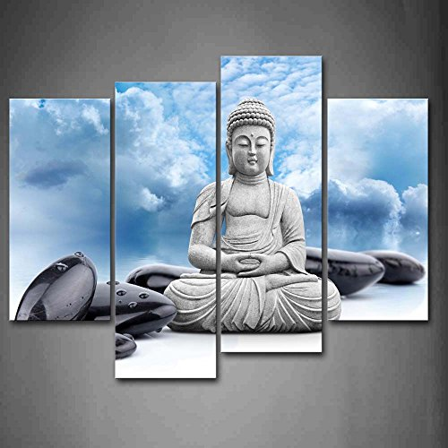 Buddha And Spa Stone In Blue Sky Wall Art Painting Pictures