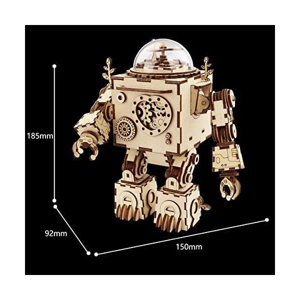 Hands Craft AM601: DIY Build Your Own 3D Wooden Puzzle Music Box with Hand Crank Kit (Orpheus Robot)- Plays Tune Can't… 5