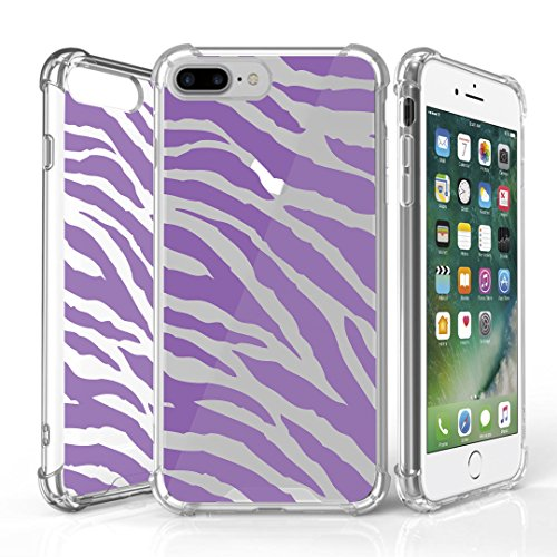 iPhone 7 Plus Case, DuroCase AquaFlex 4 Corner Shockproof TPU Bumper w/ Hard Plastic Back Shield 2in1 Hybrid Case (Clear) For Apple iPhone 7Plus - (Zebra Purple)