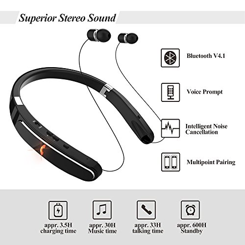 714cae2ac15 Bluetooth Headset, Bluetooth Headphones-LBell 30 Hrs Playtime Wireless  Neckband Design W/Foldable Retractable Headset for Cellphones Like iPhone  X/ 8/7 Plus ...
