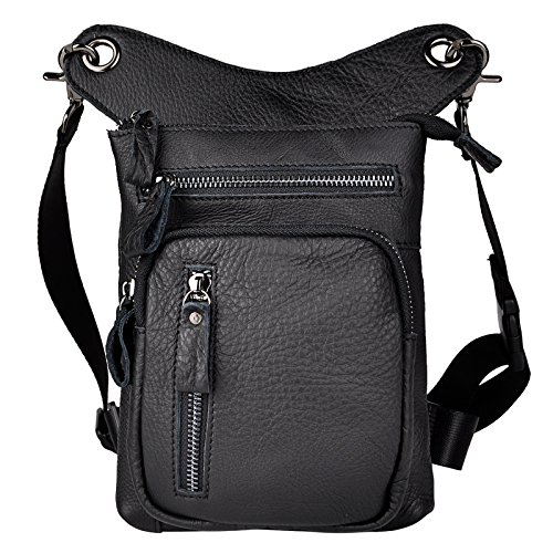 Le'aokuu Mens Genuine Leather Motorcycle Waist Pack Drop Leg Cross Over Bag 211-5 (The 211-11 - Men Locations 21