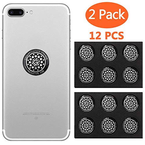 EMF Protection Sticker Cell Phone Anti Radiation Protector Shield EMR Neutralizer for All Mobile Phones iPad iPod MacBook(Silver 12 pcs)