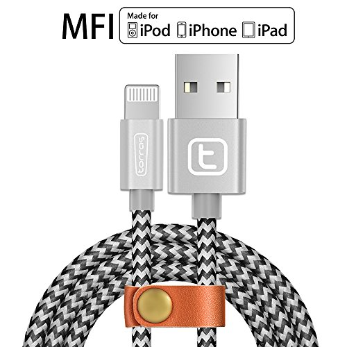 【Apple MFI Certified】Apple iPhone Lightning Charger Cable,TORRAS@ 3.3Ft Braided Fast Apple iPhone Charging Cable USB Syncing Charging Cord for iPhone 7 6 6s plus 5s,iPad Air Mini,iPod Nano -Silver