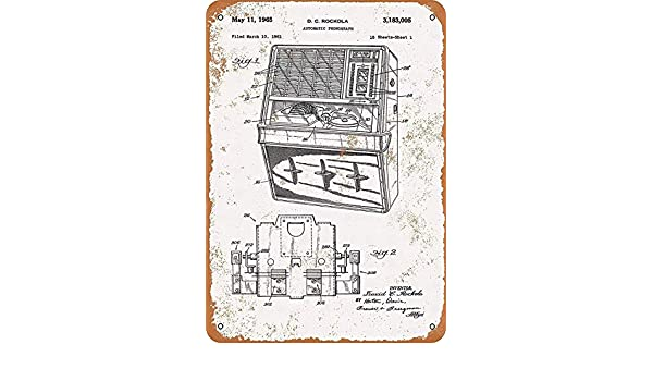 Fluse Rockola Jukebox Patent Vintage Metal Art Chic Retro Metal ...
