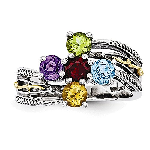 Jewelry Adviser Rings Sterling Silver & 14k Five-stone Mother's Ring Mounting Size 5 14k Ring Mounting