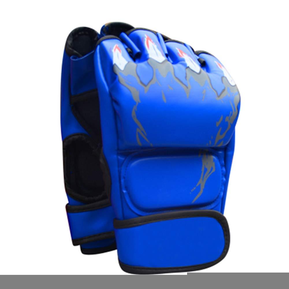 giveyoulucky 大人用 ボクシンググローブ フェイクレザー ハーフフィンガーグローブ サンドバッグ ファイト コンバット トレーニング 保護用品 ブルー
