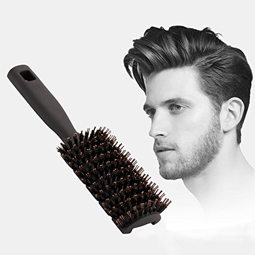 SiHong Vent Brush Anti Static Soft Boar Bristles,Epic Quick Dry Brush For Men & Woman, Professional Salon Brush Best For Blow Drying & Styling (Black)